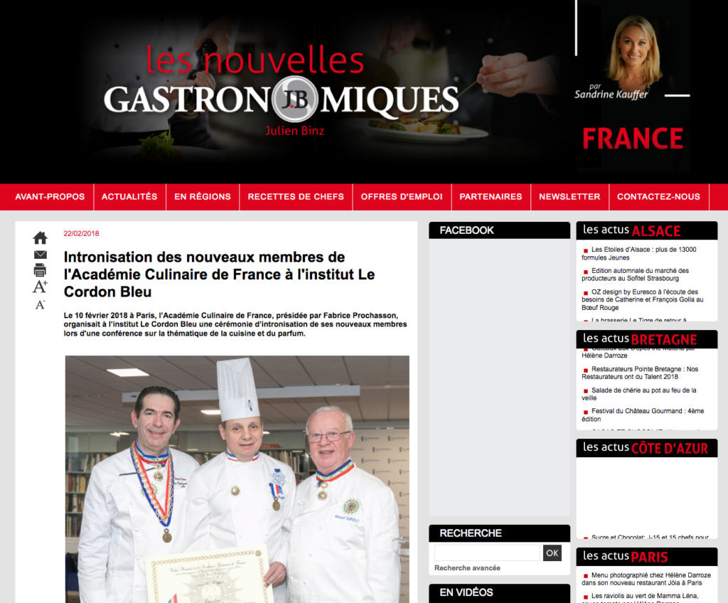 Intronisation des nouveaux membres de l'Académie Culinaire de France à l'institut Le Cordon Bleu